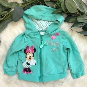 Minnie Mouse Girls Zip Up Sequin Hoodie